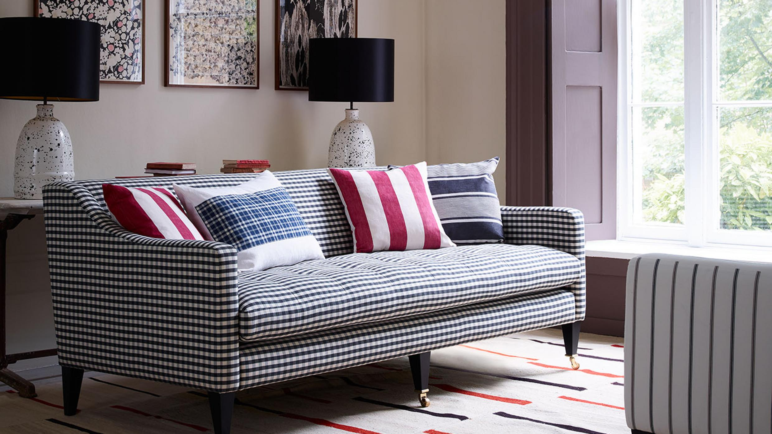 Morse Grande Sofa in check from Arlo and Jacob