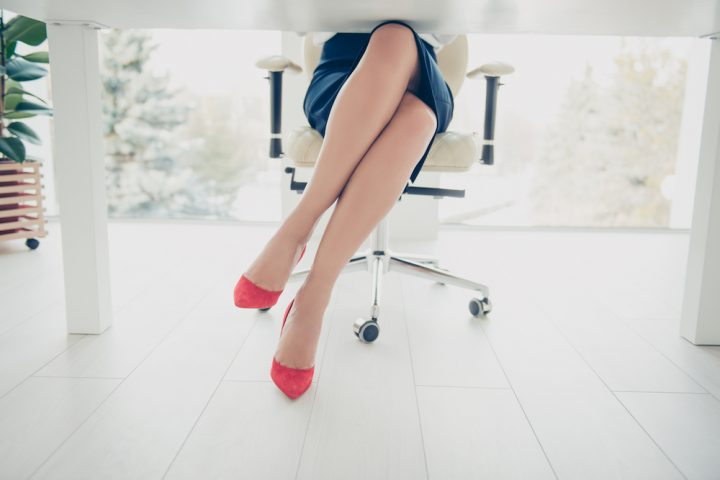 Woman working from home in heels