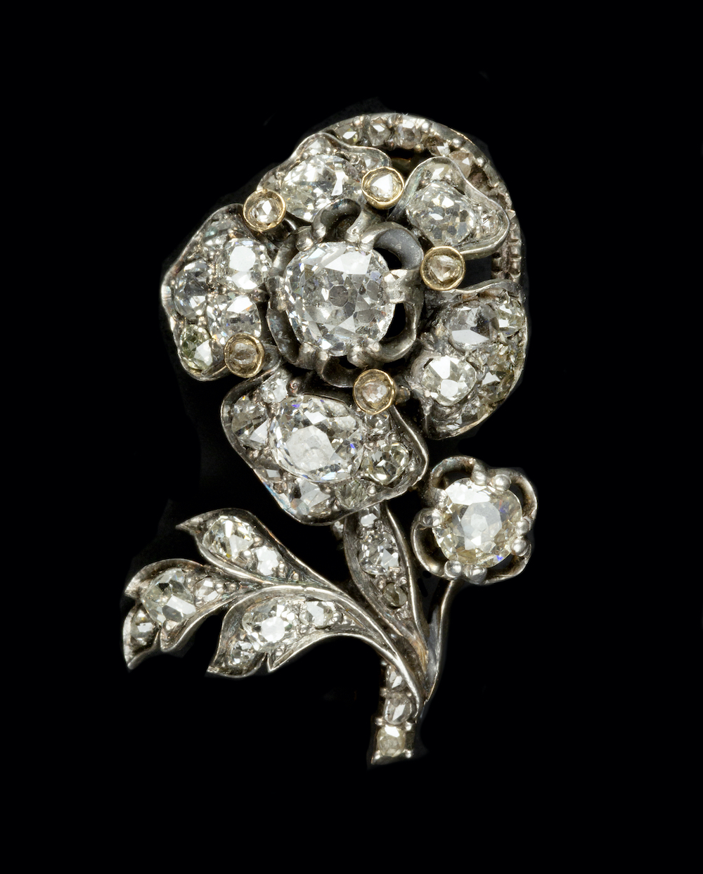 19th Century Diamond Floral Spray Brooch