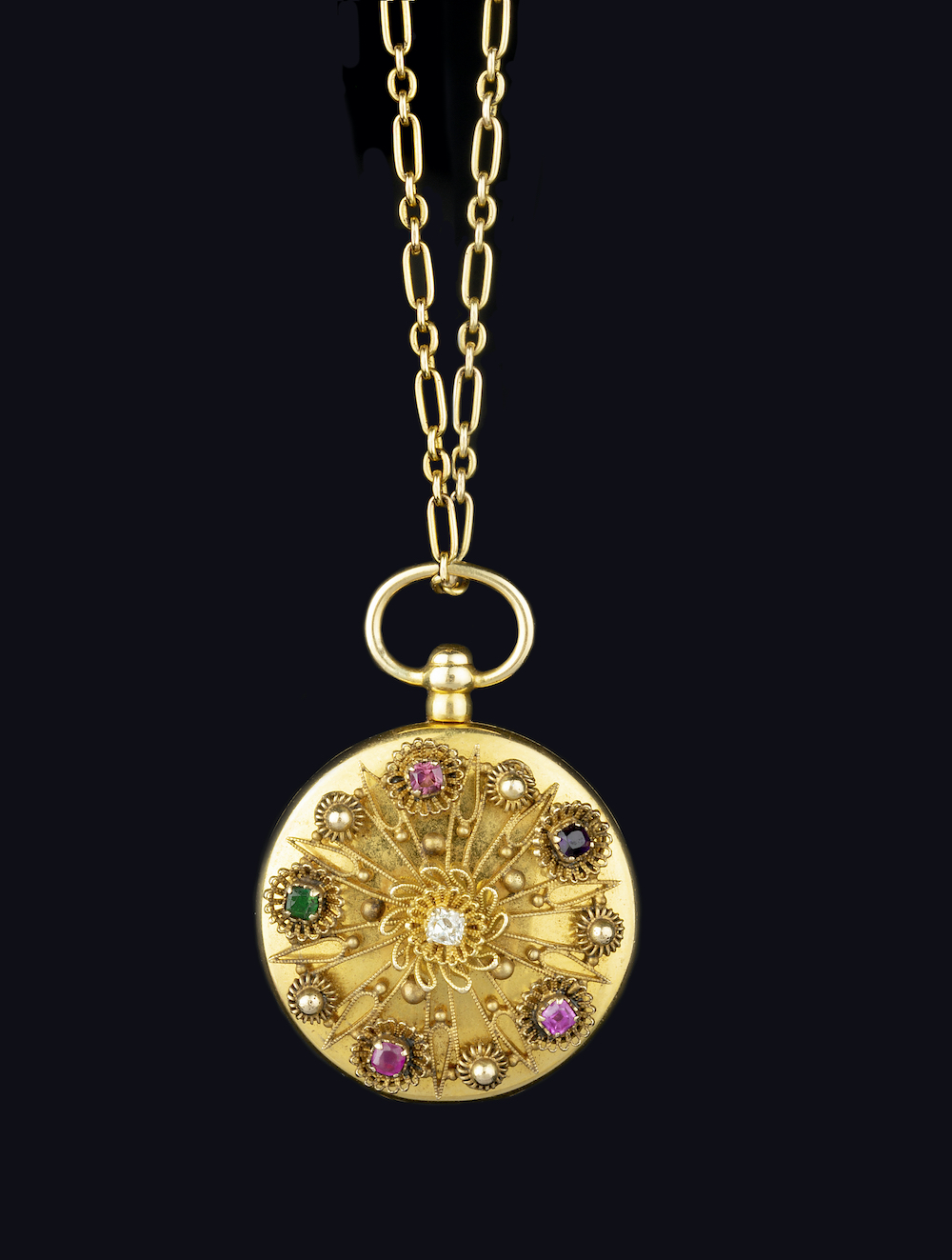 Diamond and Gem 'REGARD' Locket Pendant